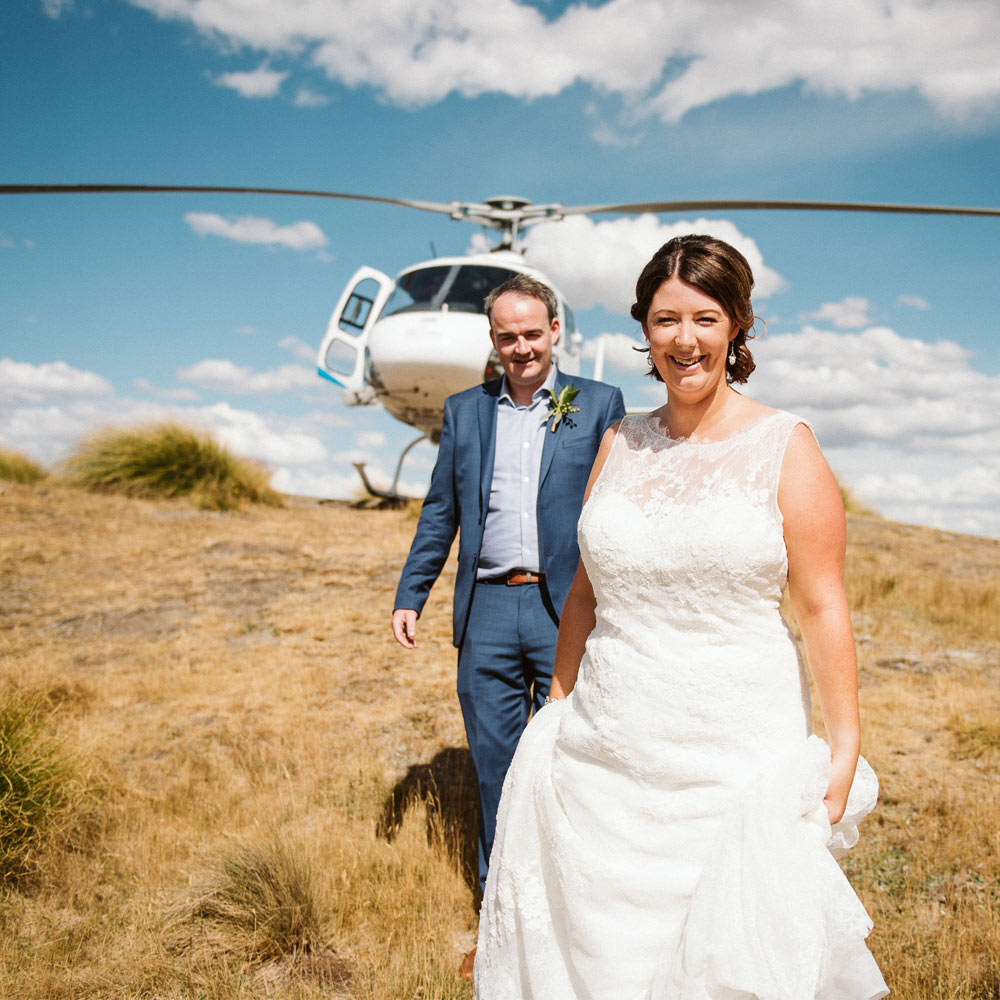 Karla with helicopter in Wanaka